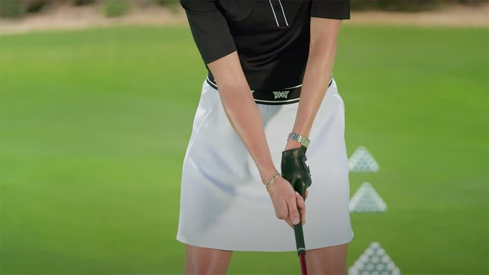 Former LPGA Tour Pro Anna Rawson demonstrating a strong golf club grip.