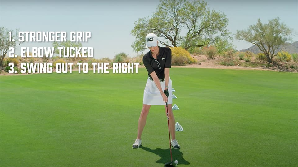 Former LPGA Tour Pro Anna Rawson demonstrating proper alignment. 1. Stronger Grip 2.Elbow Tucked 3.Swing out to the right.